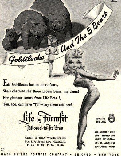 Ретро-белье - реклама бюстгальтера Goldilocks за 1942 год