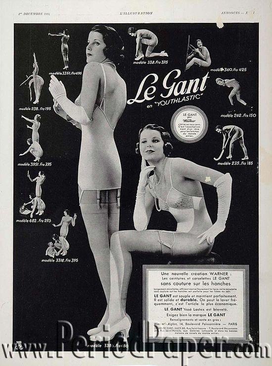 Ретро фото и реклама - женское белье 30-х годов