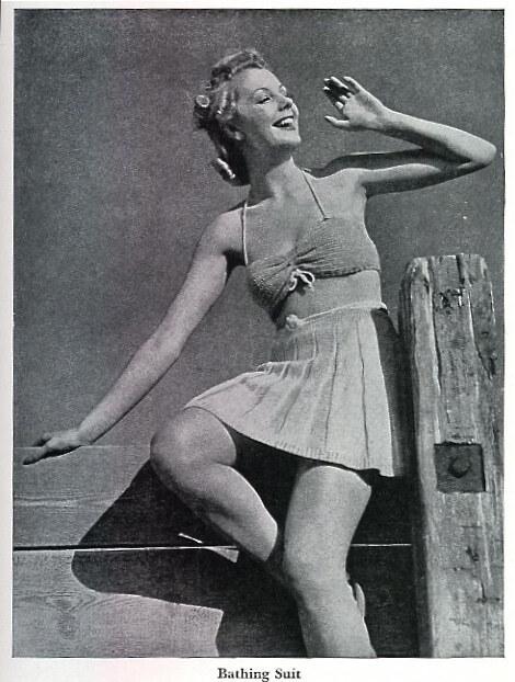 Ретро-купальники, вязанный купальник, фото за 1942 год