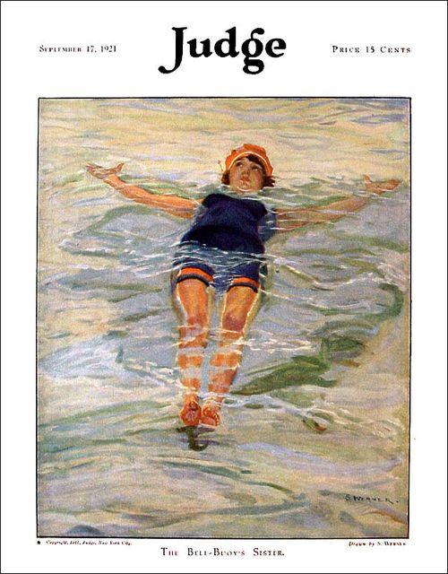 Ретро-купальник - иллюстрация с обложки старого журнала за 1921 год