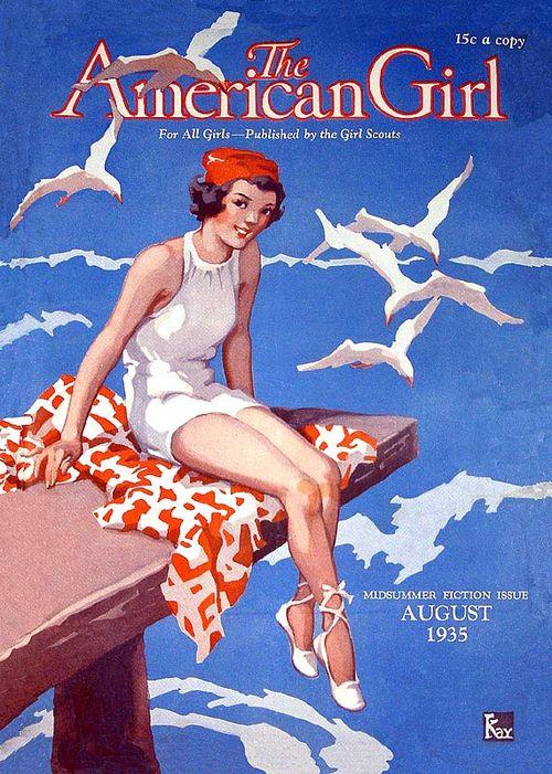 Девушка в купальнике, ретро-обложка за 1935 год