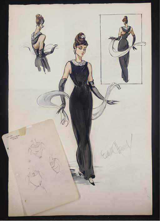 Маленькое черное платье Одри Хепберн в фильме Завтрак у Тиффани - эскиз черного платья от Живенши продали с аукциона Кристи за 58 000 фунтов в 2006 году