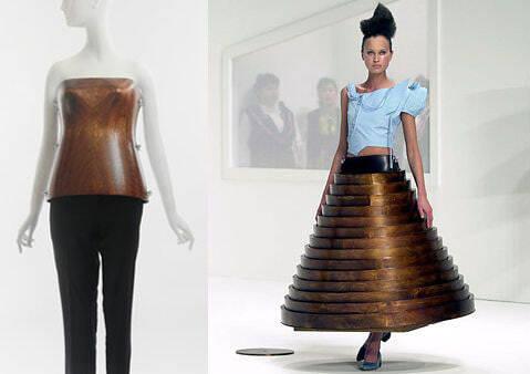 Необычные дизайнерские корсеты - деревяная юбка и деревяный корсет из коллекции Hussein Chalayan
