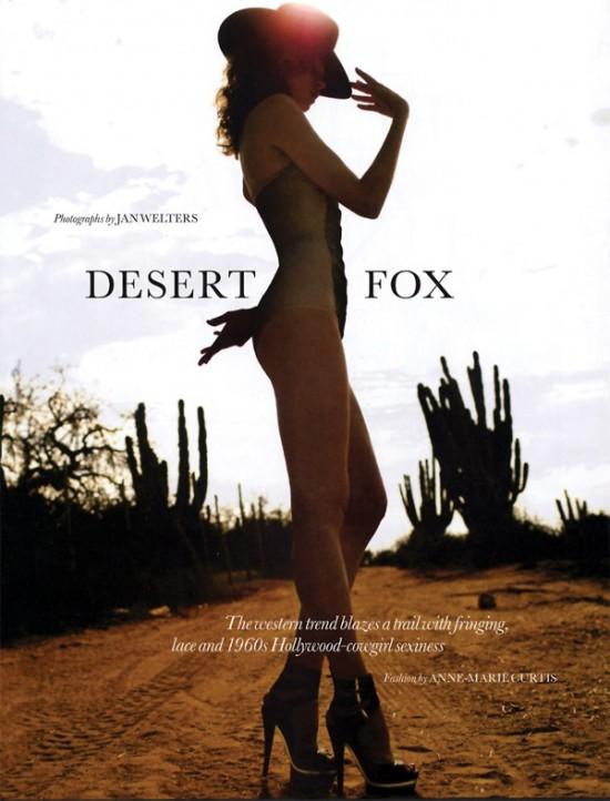 Обложка июньского Elle – лиса в пустыне